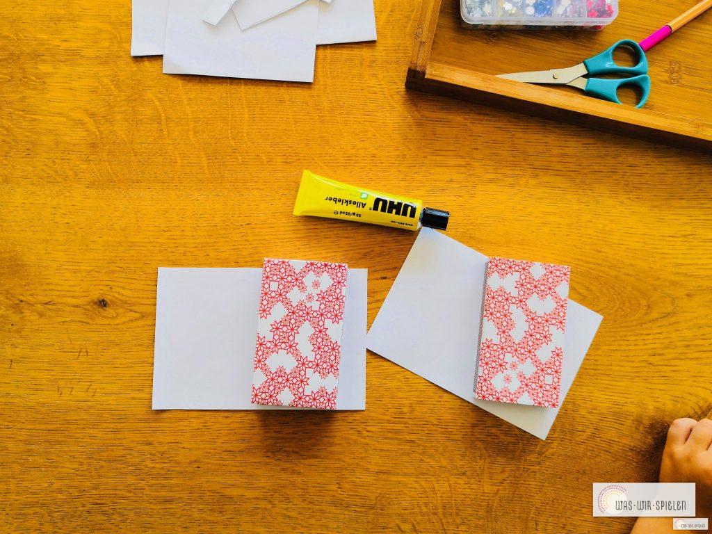 Zündholzschachteln mit Papier ummanteln