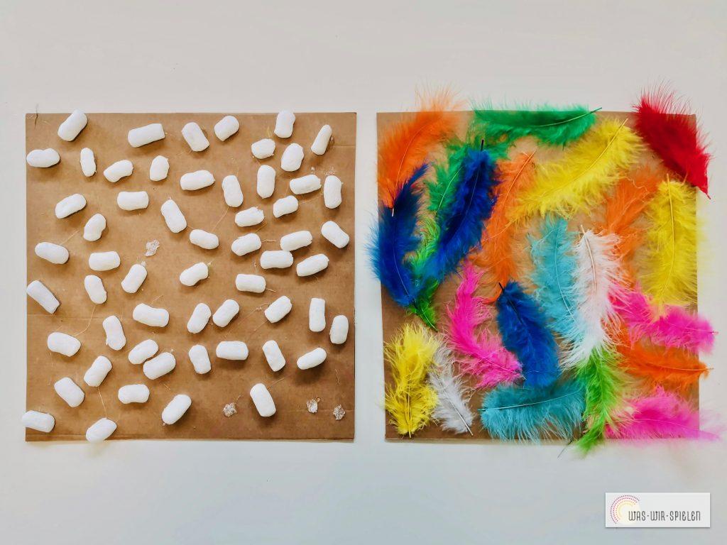 Fliesen aus Verpackungsflips und Federn