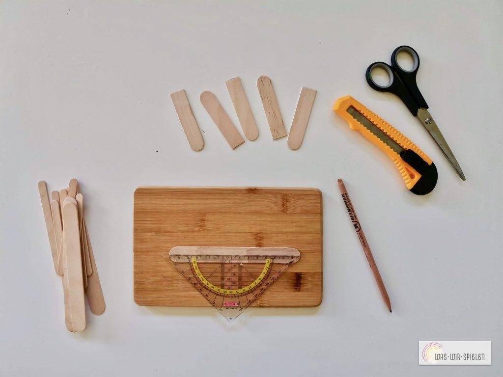 Schneide die Stäbchen in der gewünschten Form und Länge zu