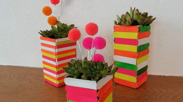 Upcycling Basteln – Blumentöpfe aus Holzstäbchen