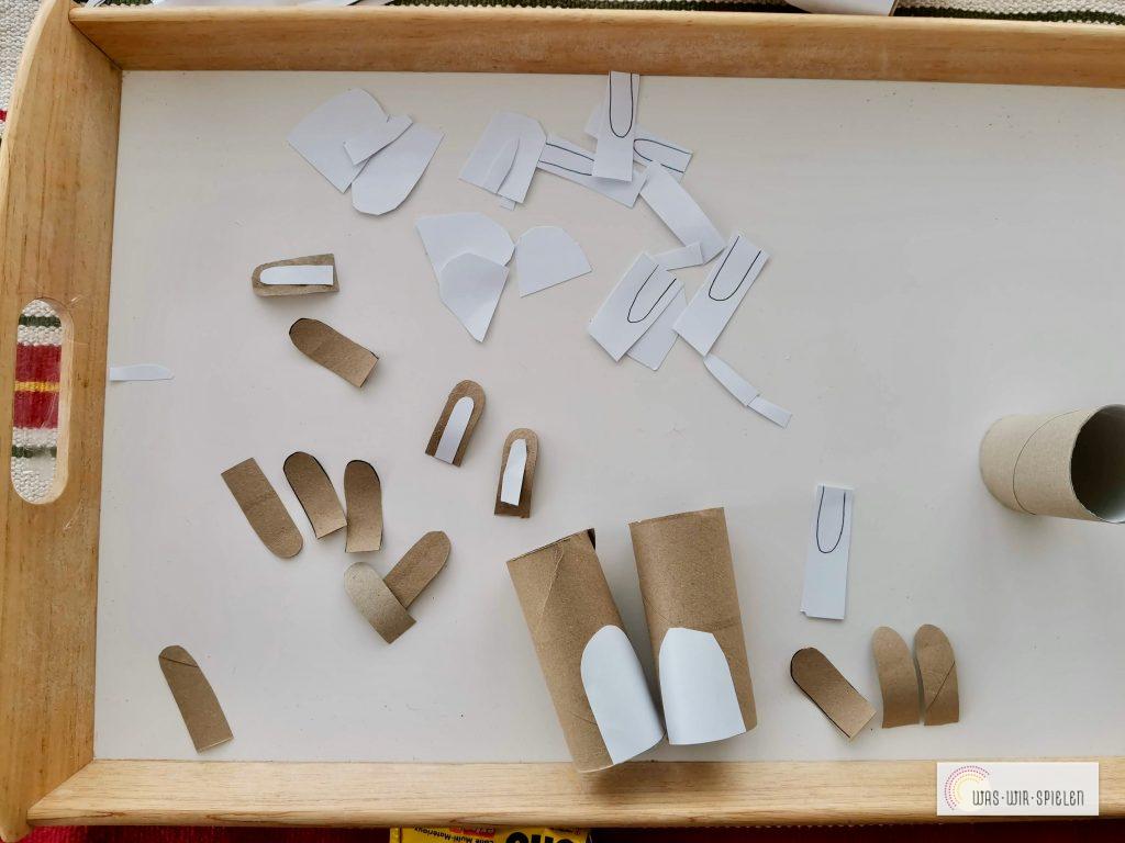 die einzelnen Teile zusammen kleben