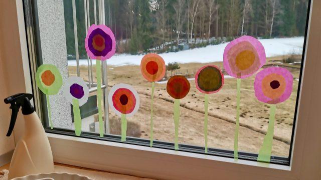 Bunte Tulpen – Fensterbilder nach Kandinsky