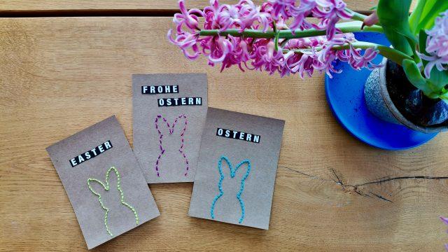 Osterkarten sticken – DIY Geschenkidee für Ostern